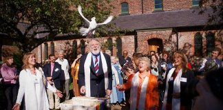 Terry Waite at the Peace Mala