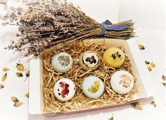Bath bombs fizzers organic gift set