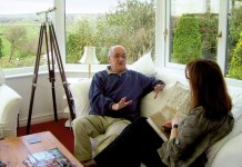 Karen chats to Jim at his home in Carnforth