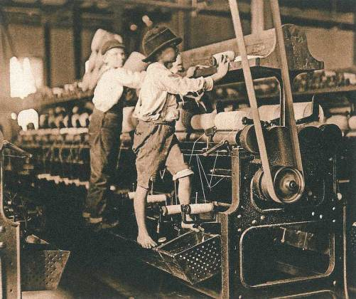 Child labour - a global problem. This image shows children working in a mill in Macon, Georgia, in 1909