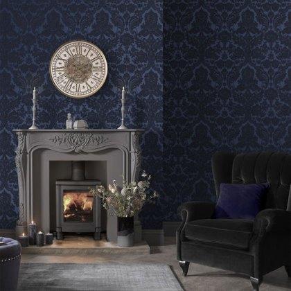 Gothic Damask Flock Cobalt Wallpaper