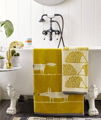 Scion Mr Fox Towels, Mustard