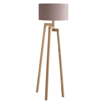 Wooden floor lamp with lilac velvet shade