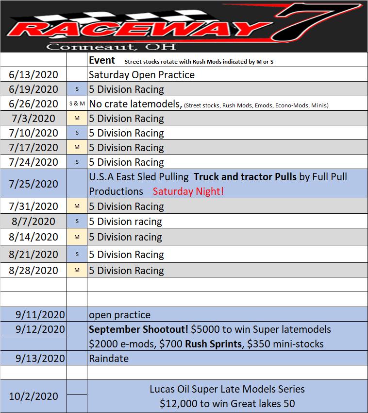 Raceway 7 revised 2020 schedule