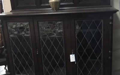 Oak Leadlight Display Cabinet, c1920