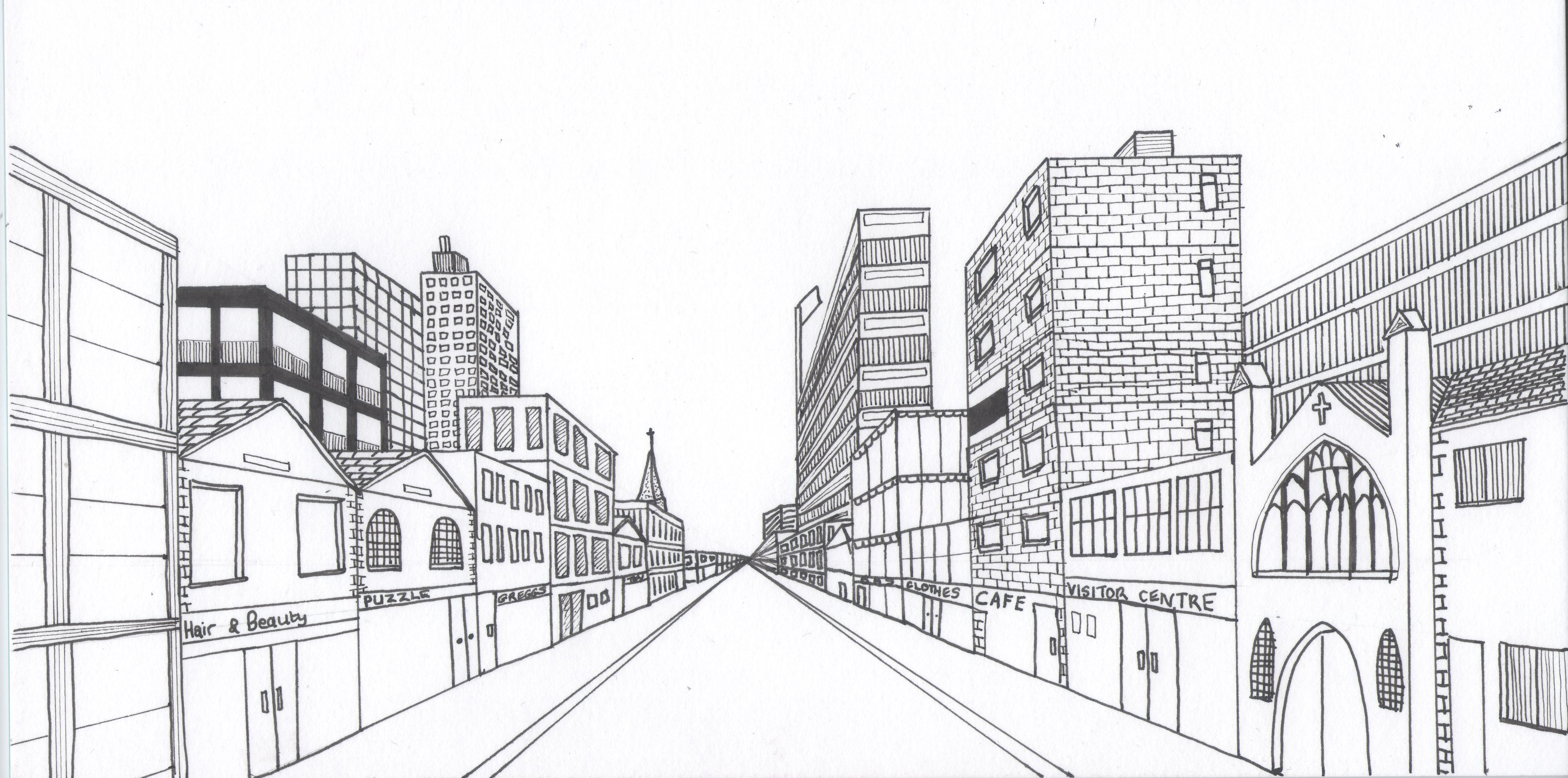 Cityscape Using One Point Perspective