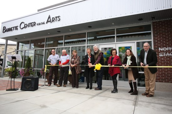 Barrette Center for the Arts Ribbon Cutting CeremonyLeft to Right: Eric Bunge, Stuart Johnson, Janet Miller Haines, Cynthia Barrette, Ray Barrette, Linda Roesch, Carol Dunne, Jim Pulver. Photo by Rob Strong.
