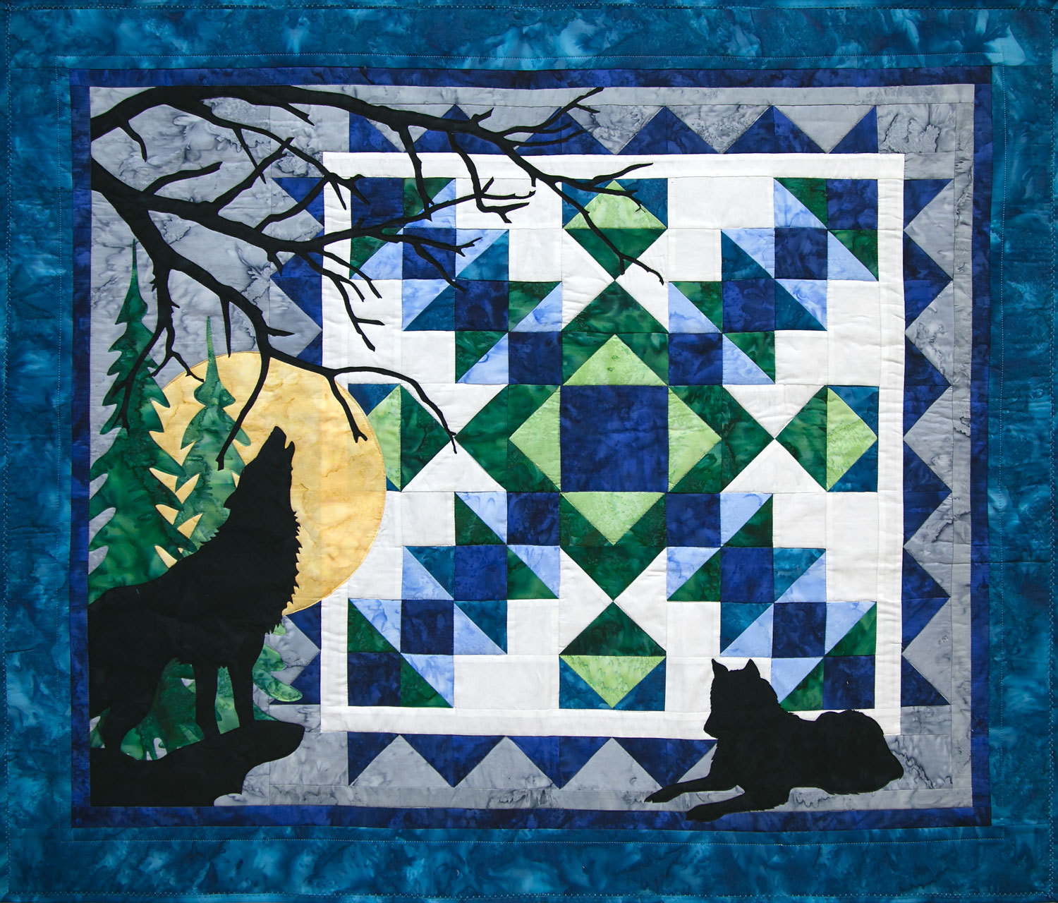 Wolf Song Easy Art Quilt by Marie Noah