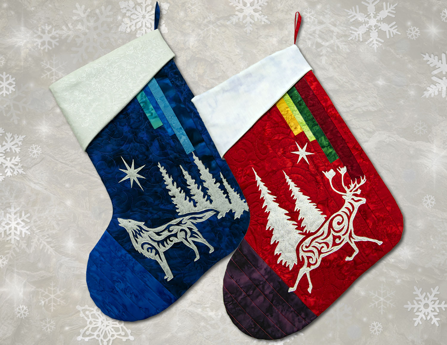 Arctic Holiday Stockings Laser Cut Appliques, Kits and Patterns by Marie Noah