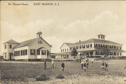In this undated postcard, campers play on the lawn of the Saint Thomas Home in East Marion, which provided a summer respite for hundreds of New York City children from 1893 to 1925. (Credit: Oysterponds Historical Society)