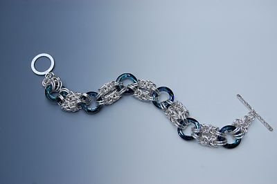 Blue Cosmic Rings Chainmaille Bracelet