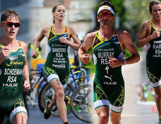 South Africa's traithletes at Rio, Henri Schoeman,  Mari Rabie, Gillian Curr Sanders, and Richard Murray.