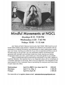Yoga at NGCL - April Offerings