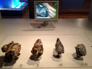 Flints that could be handled, placed in front of a video of someone demonstrating flint knapping