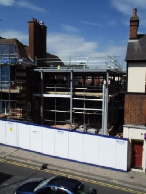 The front of the new museum takes shape: a view across Brand Street from the Old Town Hall