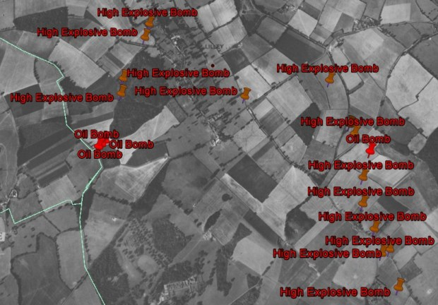 Incidents around Lilley mapped onto an aerial photograph from 1945