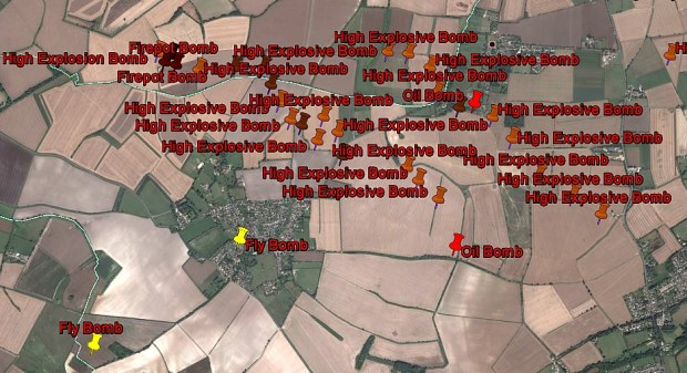 Bombs dropped between Pirton and Holwell on a modern background