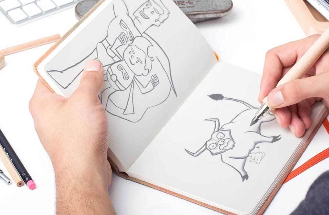 Traditional sketchbook drawings