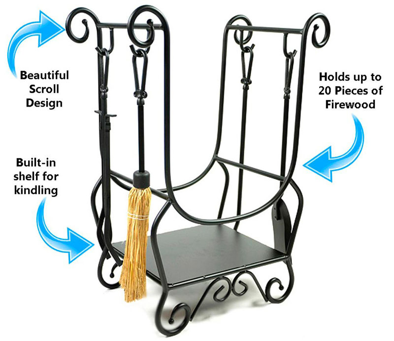 Specifics of the Scroll Wood Rack from WoodEze