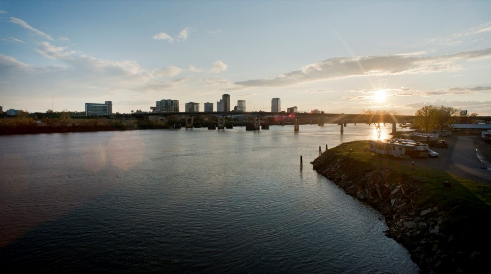 Sunset view from Clinton Presidential Bridge, North Little Rock