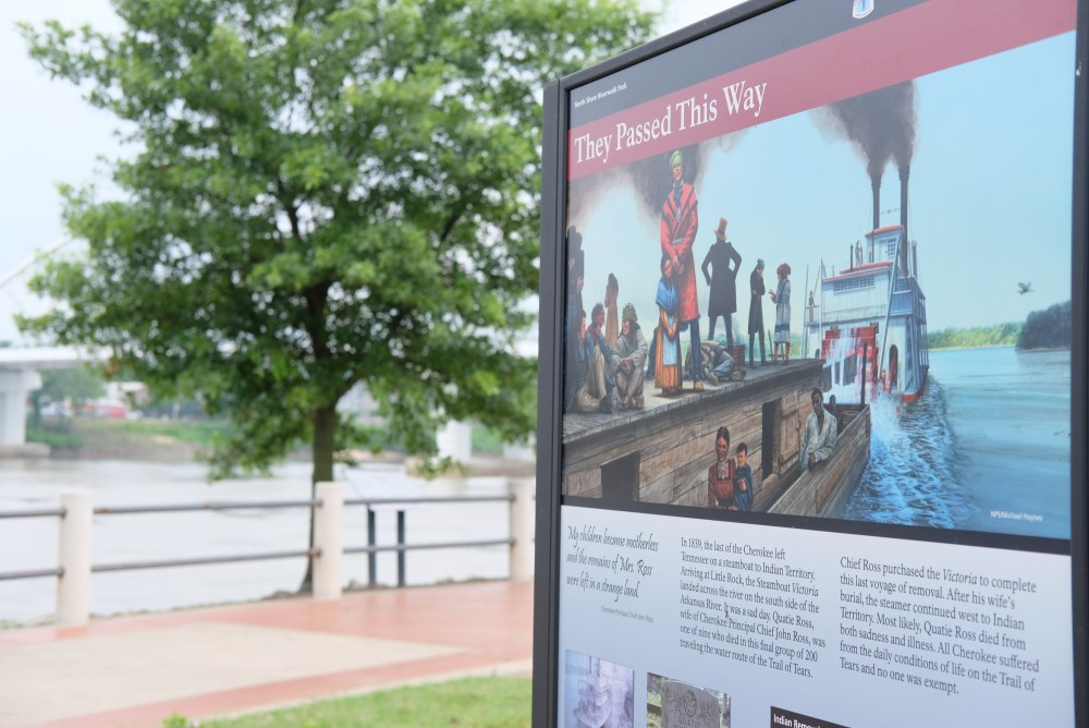 they passed this way sign at North Shore Riverwalk Park in North Little Rock