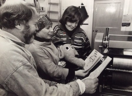 """Daphne Smith, right, at the printing of Patterns Puppets & Pieces. She said: """"The elephant came from a grey cardigan I was throwing in the dustbin. I saw the arm and thought, there's an elephant""""."""