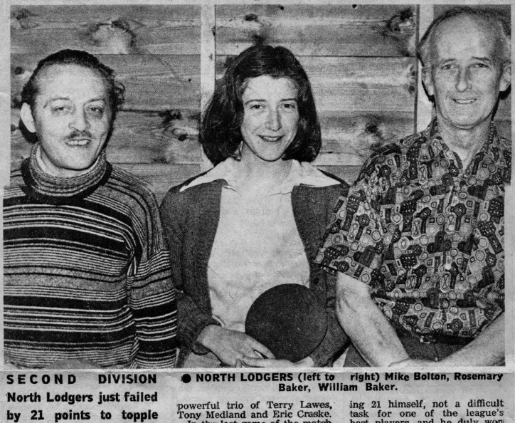 Billy Baker was not only a keen horticulturist – a founder member of the Cromer Horticultural Society – but also a demon table tennis player for the North Lodgers team, pictured here with his daughter Rosemary and Mike Bolton (son of Tom Bolton)