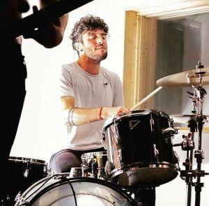 Drummer Luca Romano in the studio