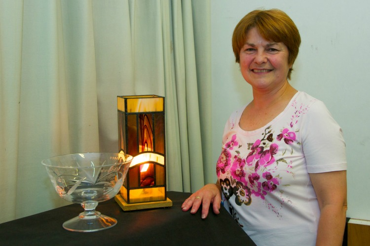 Jeanette Holdstock with prize winning lamp