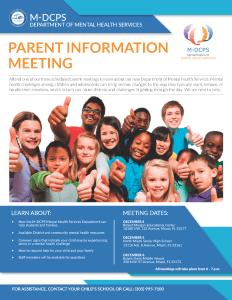 Mental Health Flyer Parent Meeting