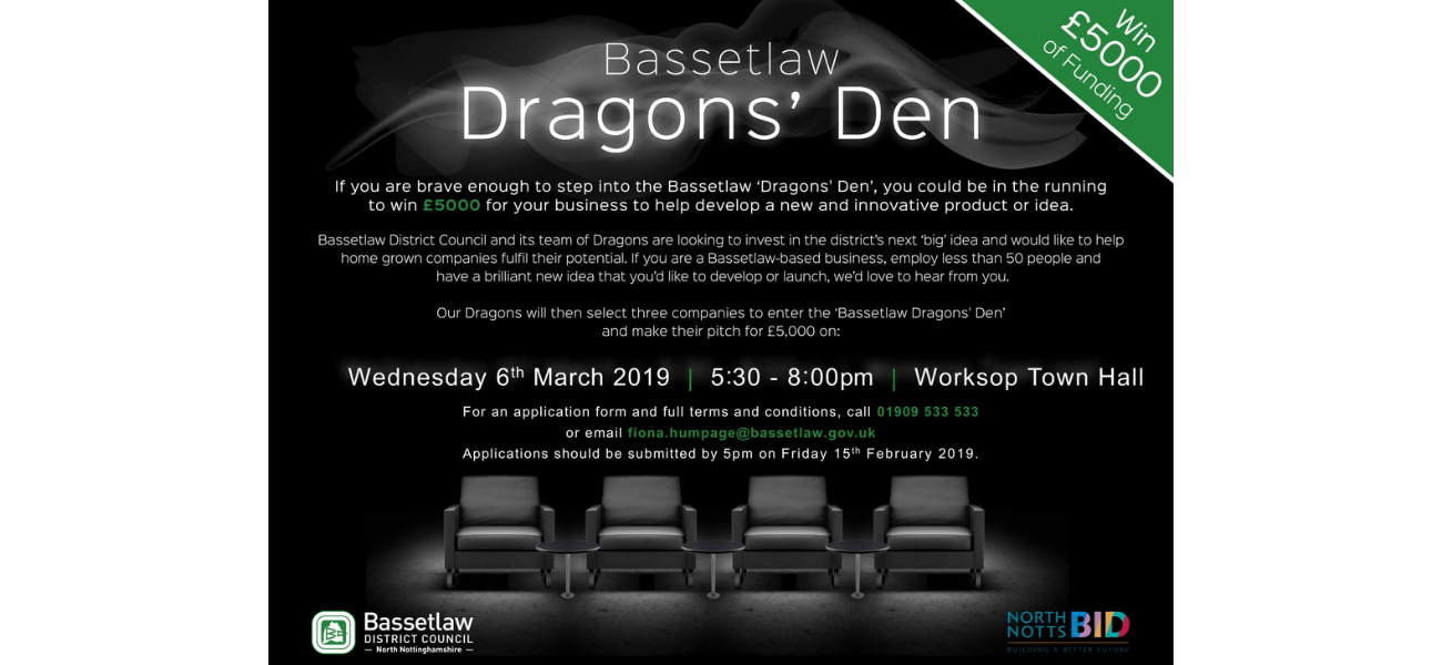 North Notts BID Supports Bassetlaw Dragon's Den Event
