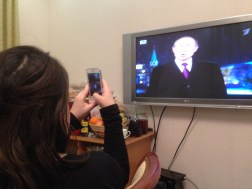 ...watched (and photographed) Putin's midnight speech...