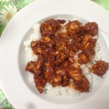 rice with chicken cooked in sauce (tomato paste + cocoa + ginger + chili powder)