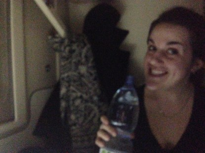 Vickie and the first of ~9 liters of water to be consumed by us over the two days