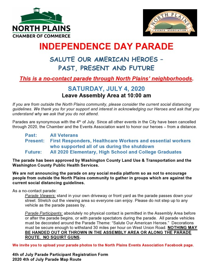 Information regarding the North Plains No Contact Independence Day Parade