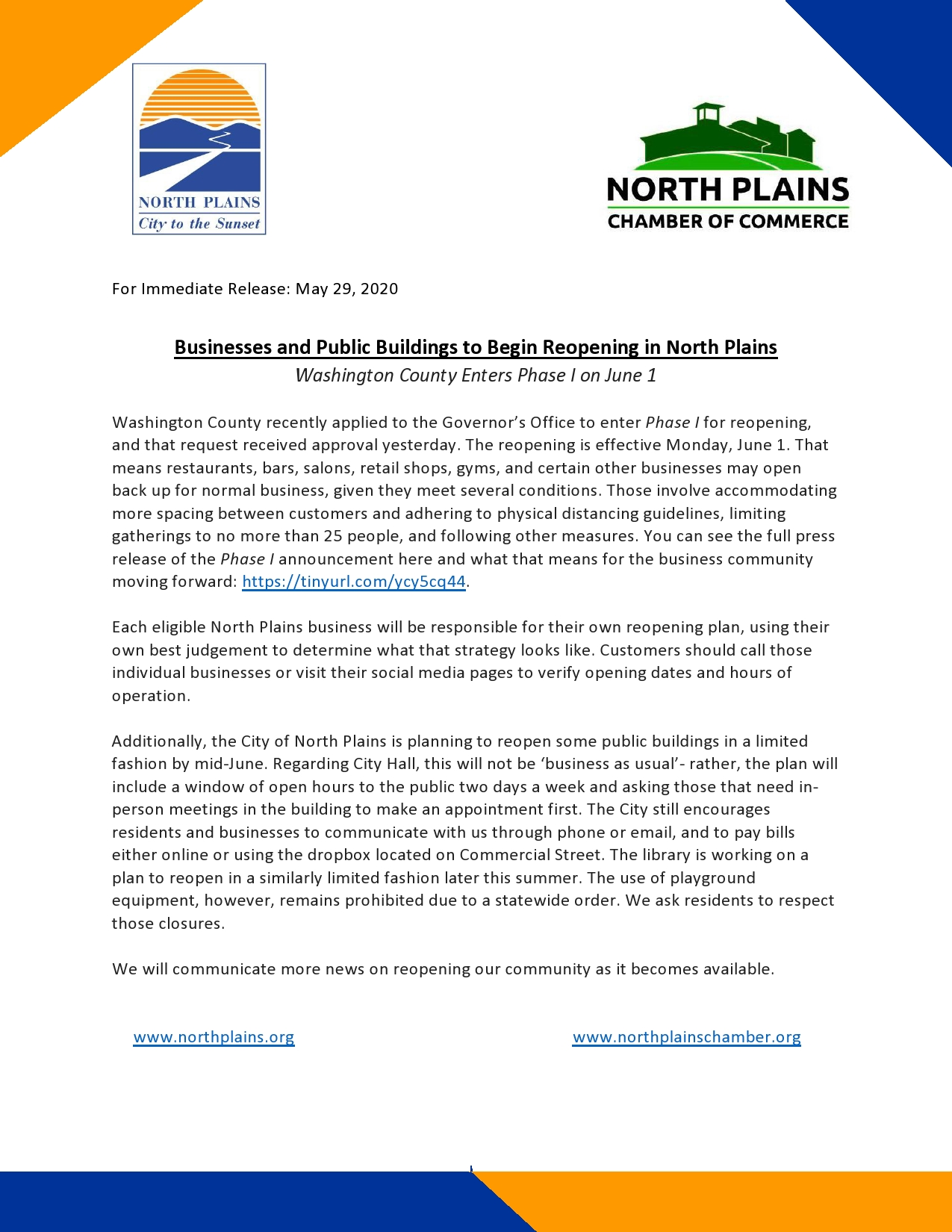 Notice From the City of North Plains