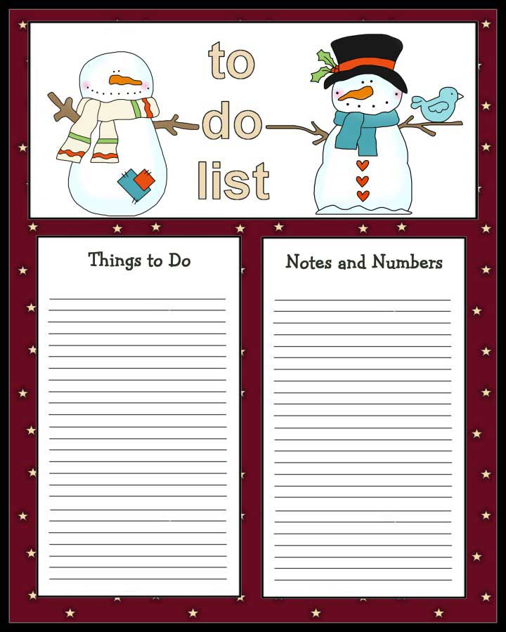 2 Cute Snowmen To Do List Print The Christmas Themed To