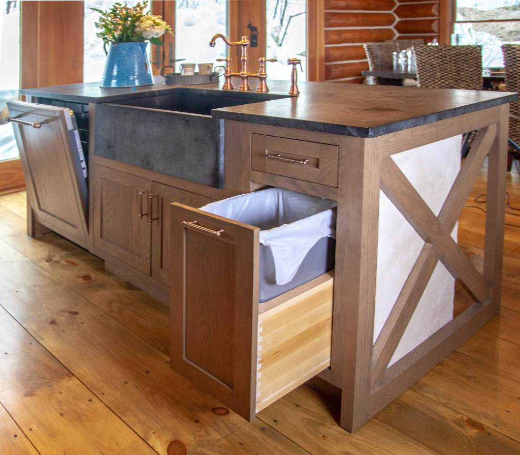 oak inset kitchen cabinets with trash pull out
