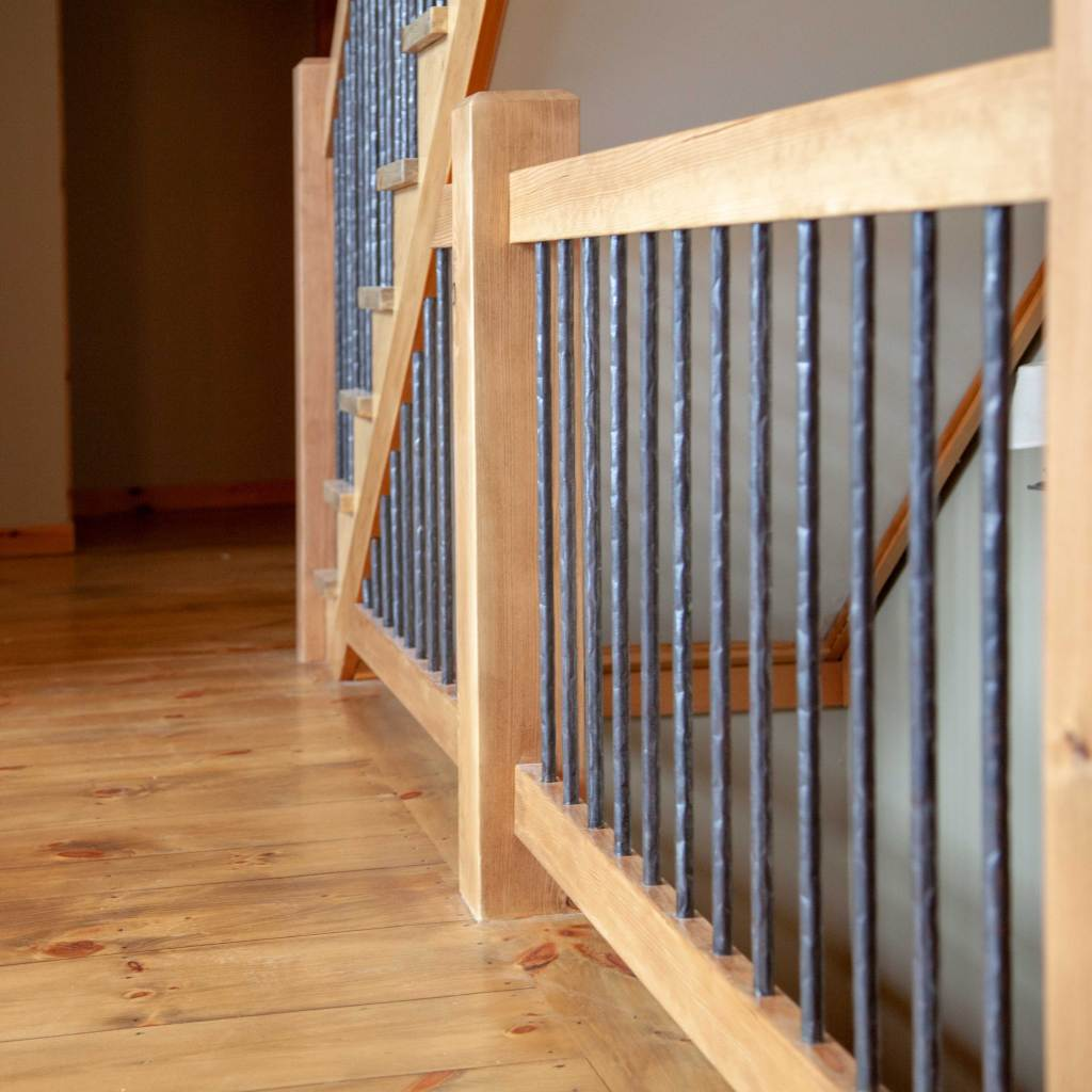 Custom Staircase with Wrought Iron Handrails