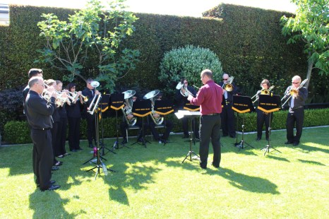 The band entertains in the garden