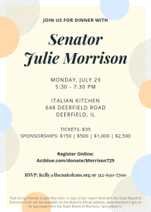 Dinner with Senator Julie Morrison @ Italian Kitchen | Deerfield | Illinois | United States