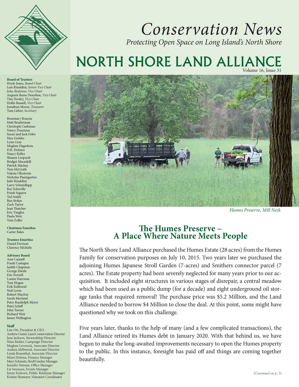 2020 Spring/Summer Conservation News newsletter