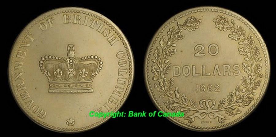British Columbia Twenty Dollars 1862