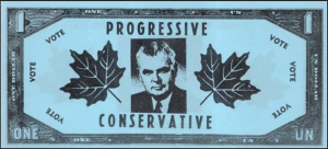 Issued in 1963 by Liberal party supporters to satirise the Conservative government foreign exchange policies. Black on blue paper.