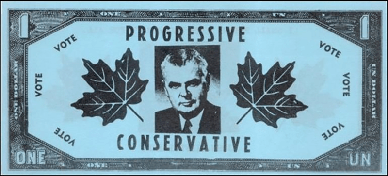 Issued in 1963 by Liberal party supporters to satirise the Conservative government foreign exchange policies. Black on blue paper >
