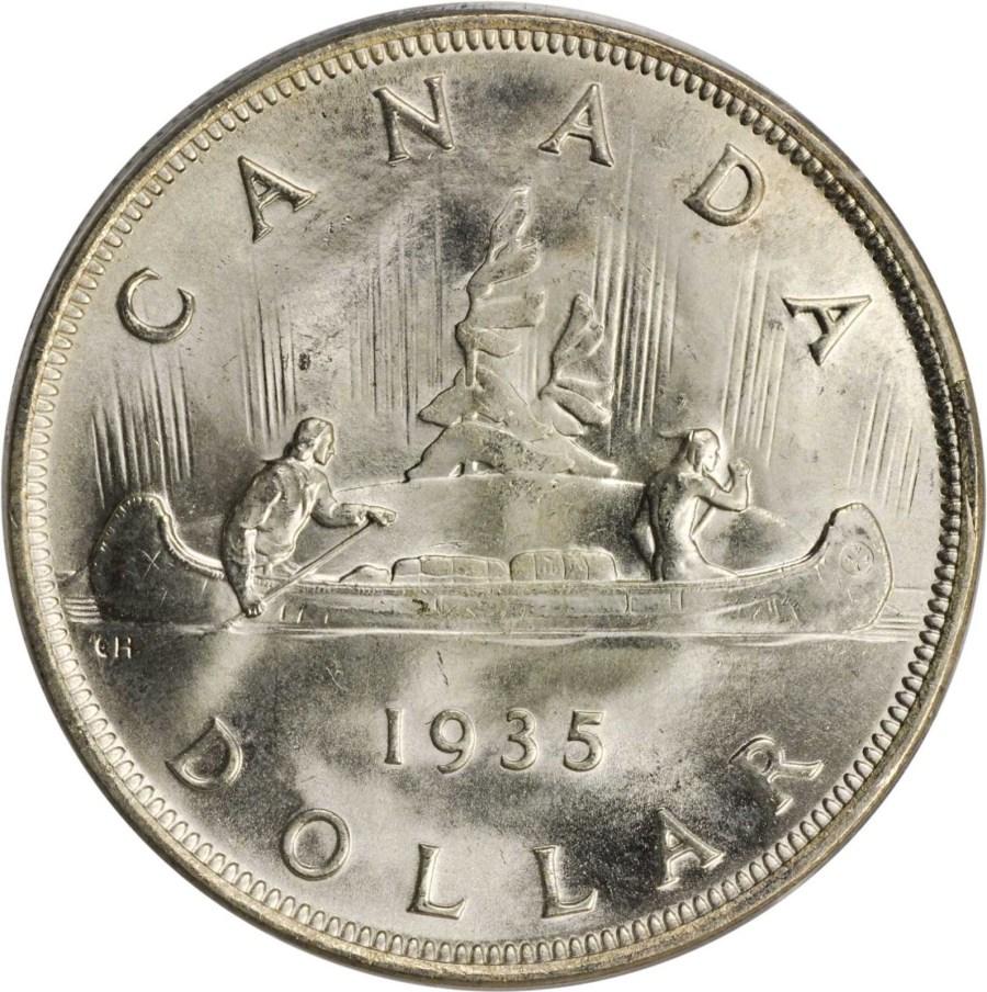 Canadian Silver Voyageur Dollar 1935