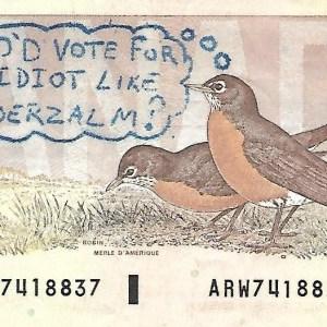 Political $2 Note Vanderzalm