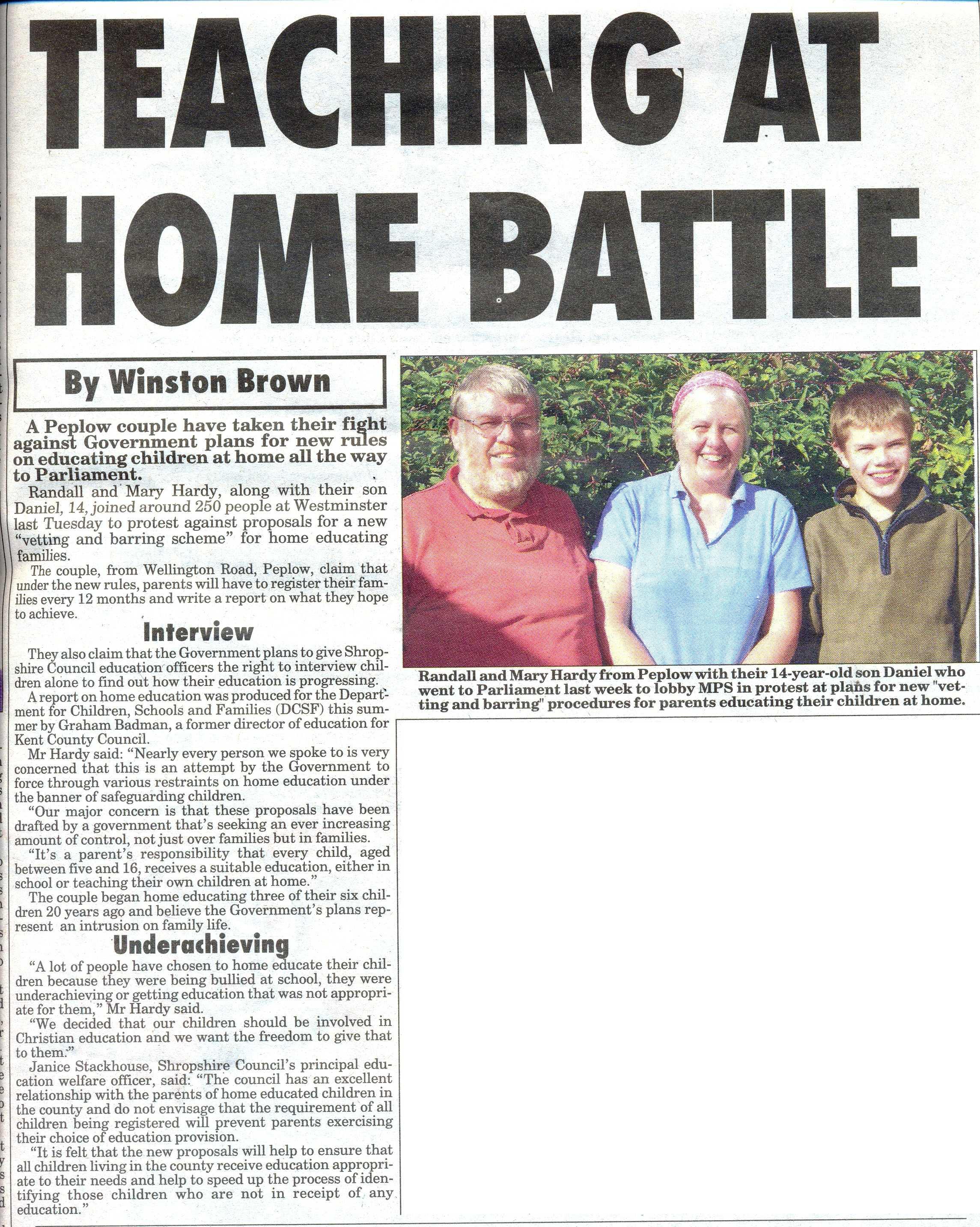 Market Drayton Advertiser - Article 9 October 2009