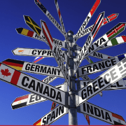 signposts with country names
