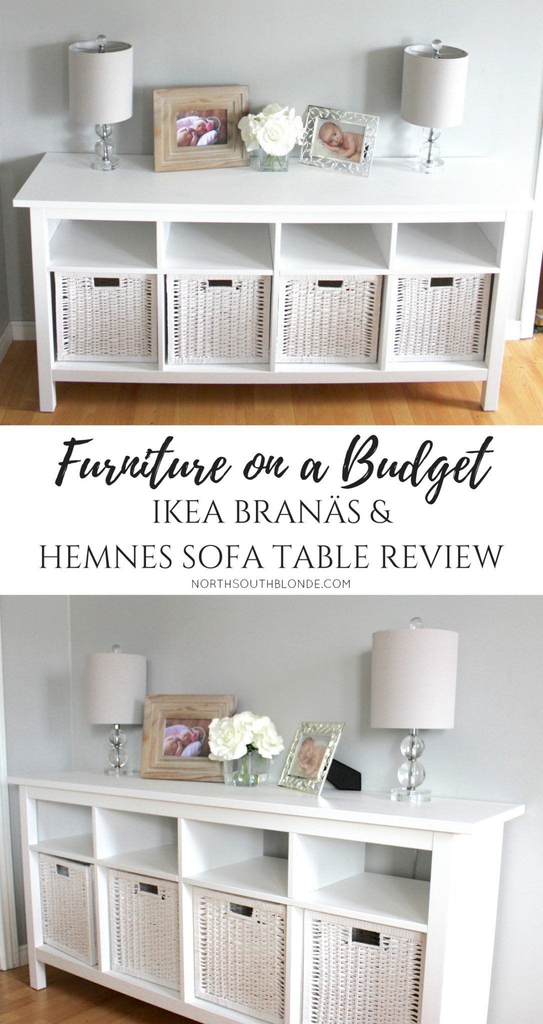 The Hemnes Sofa Table from Ikea is an affordable, beautiful and timeless white piece of furniture that can serve multiple purposes in your home! Buffet Table | Sideboard | Console Table | Media Table | TV Stand | Home Decor | Furniture | Affordable | Ikea Hemnes Console Table | Sofa Table | Branas Baskets | Entryway | Mudroom | Toy Storage | Toy Room Organization | Ikea Review | Dimensions | Basket Size | Measurements | Family Friendly | Mom Approved | Home design | Decor Accents | Side Table |